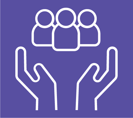 digital safety icon- large hands holding a group of people